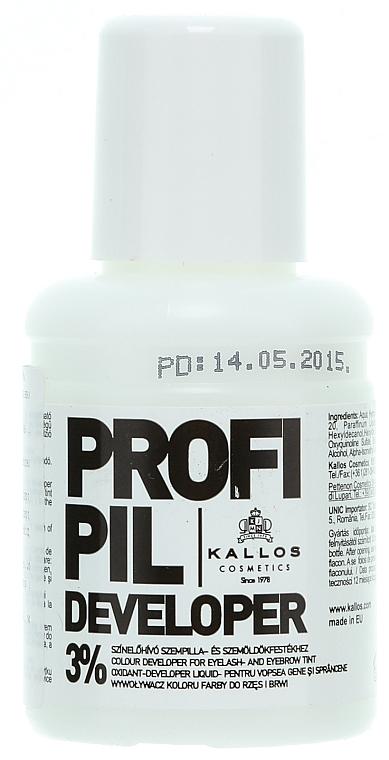 Oxidačné činidlo pre farby 3% na obočie a mihalnice - Kallos Cosmetics Profi Pil Developer 3%