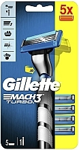 Voňavky, Parfémy, kozmetika Holiaci strojček s 5 vymeniteľnými kazetami - Gillette Mach 3 Turbo 3D Motion