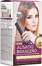 Voňavky, Parfémy, kozmetika Sada na keratínové vyrovnanie vlasov, pre blondínky - Kativa Alisado Brasileno Straighten Blonde (shm/15ml + mask/150ml + shm/30ml + cond/30ml)