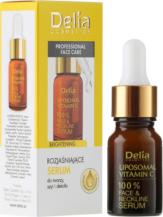 Sérum na tvár, krk a dekolte - Delia Liposomal Vitamin C 100% Face Neckline Serum Anti Wrinkle Treatment