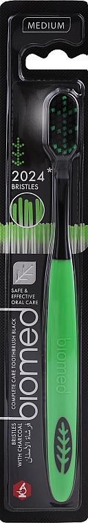Zubná kefka, strednej tvrdosti, čierno-zelená - Biomed 2024 Black Medium Toothbrush