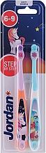 Voňavky, Parfémy, kozmetika Detská zubná kefka, 6-9 rokov, jednorožec a delfín - Jordan Step By Step Soft
