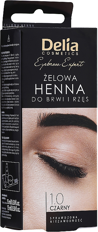 Gél-farba na obočie, čierna - Delia Eyebrow Tint Gel ProColor 1.0 Black