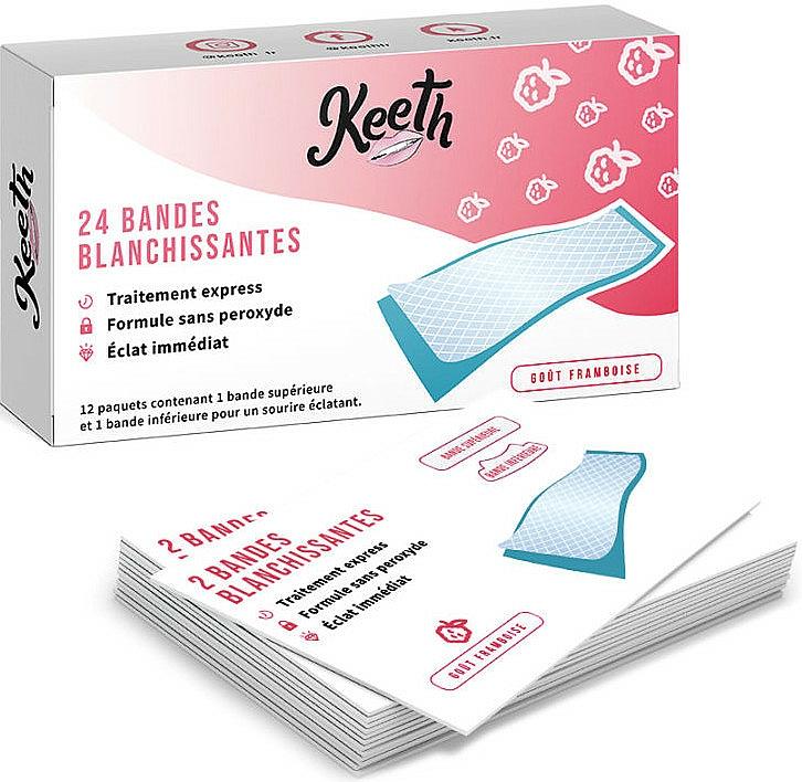 Pásiky na bielenie zubov s malinovou príchuťou - Keeth Tooth Whitening Strips — Obrázky N1