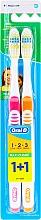 Voňavky, Parfémy, kozmetika Súprava zubných kefiek (stredná, oranžová + ružová) - Oral-B 1 2 3 Maxi Clean 40 Medium 1+1