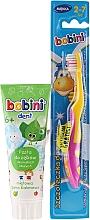 Voňavky, Parfémy, kozmetika Sada so žlto-ružovou kefou - Bobini (toothbrush + toothpaste/75ml)