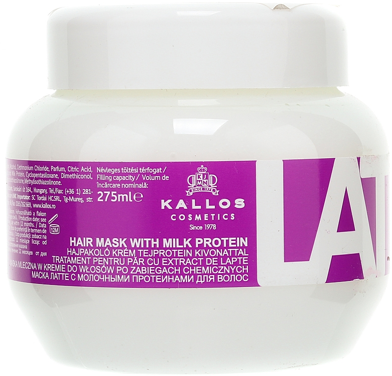 Maska na poškodené vlasy - Kallos Cosmetics Latte With Milk Protein Mask