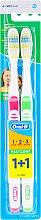 Voňavky, Parfémy, kozmetika Súprava zubných kefiek, stredné (ružové + zelené) - Oral-B 1 2 3 Maxi Clean 40 Medium 1+1