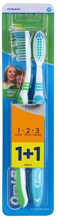 Sada zubných kefiek, strednej tvrdosti, zelená + modrá - Oral-B 1 2 3 Natural Fresh 40 Medium