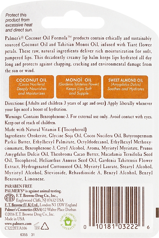 Balzam na pery - Palmer's Coconut Oil Formula Lip Balm — Obrázky N2
