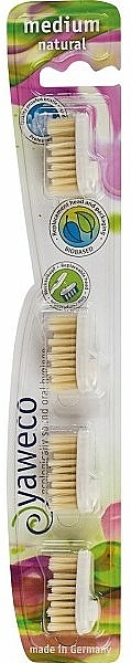 Náhradné stredne tvrdé hlavice na zubnú kefku - Yaweco Replaceable Toothbrush Brush Heads Natural Medium