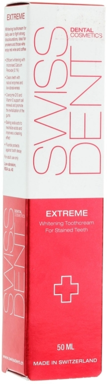 Bieliaca zubná pasta - SWISSDENT Extreme Whitening Toothcream for Stained Teeth — Obrázky N4