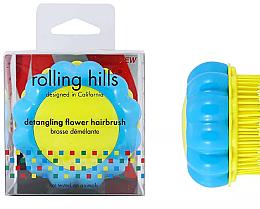 """Voňavky, Parfémy, kozmetika Kompaktná kefa na vlasy """"Harmanček"""", žltá / modrá - Rolling Hills Brosse Desenredar Flower"""