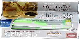 """Voňavky, Parfémy, kozmetika Sada """"Pre milovníkov čaju a kávy"""", zelená kefka - White Glo Coffee & Tea Drinkers Formula Whitening Toothpaste (toothpaste/100ml + toothbrush)"""