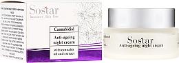Voňavky, Parfémy, kozmetika Nočný krém na tvár proti starnutiu s konopným extraktom - Sostar Cannabidiol Anti Ageing Night Cream With Cannabis Extract