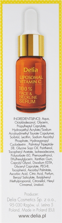 Sérum na tvár, krk a dekolte - Delia Liposomal Vitamin C 100% Face Neckline Serum Anti Wrinkle Treatment — Obrázky N3