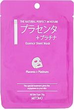 """Voňavky, Parfémy, kozmetika Textilná maska na tvár """"Placenta a platinové nanočastice"""" - Mitomo Essence Sheet Mask Placenta + Platinum"""