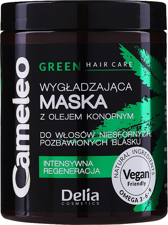 Vyhlazovacia maska s konopným olejom na vlasy - Delia Cosmetics Cameleo Green Mask