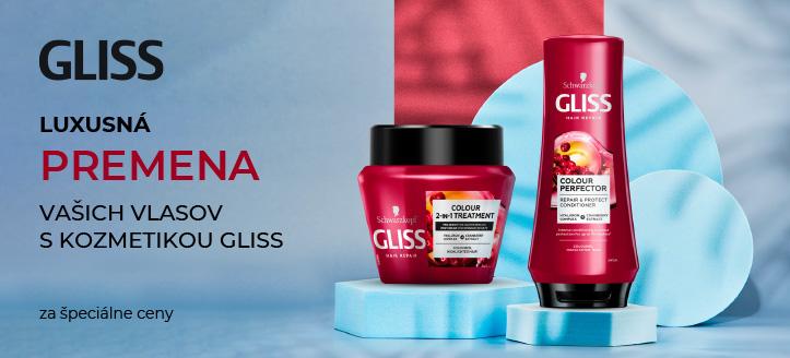 Zľava 25% na akciové prípravky na starostlivosť o vlasy Gliss Kur. Ceny na stránke sú uvedené so zľavou