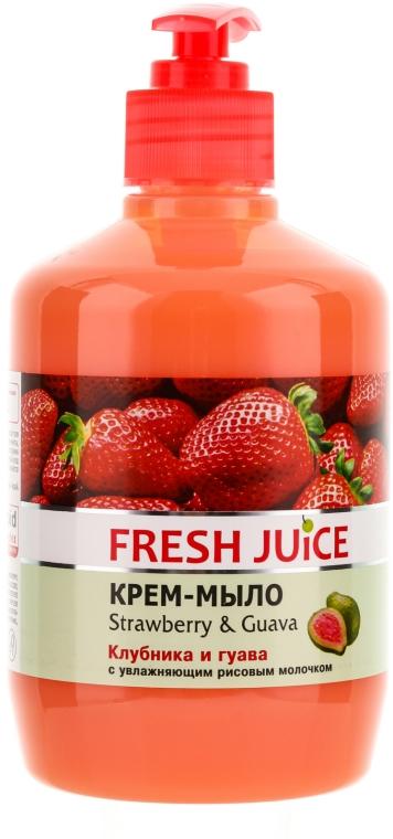 """Krém-mydlo s hydratačným ryžovým mliekom """"Jahoda a guava"""" s dávkovačom - Fresh Juice Strawberry&Guava"""
