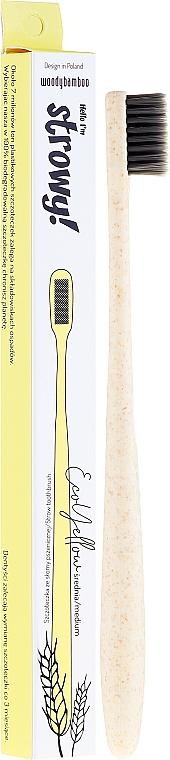 Pšeničná zubná kefka, stredne tvrdá - WoodyBamboo Toothbrush EcoYellow Medium