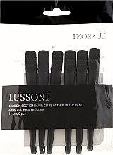 Karbonové vlasové klipsy, čierne - Lussoni — Obrázky N1