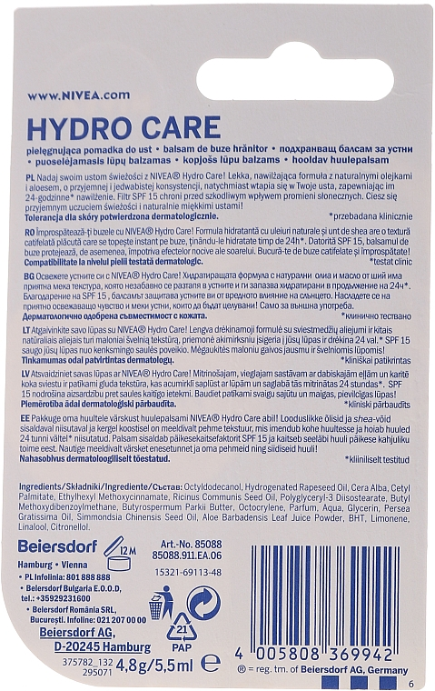 """Balzam na pery """"Aqua starostlivosť"""" SPF 15 - Nivea Lip Care Hydro Care Lip Balm — Obrázky N4"""