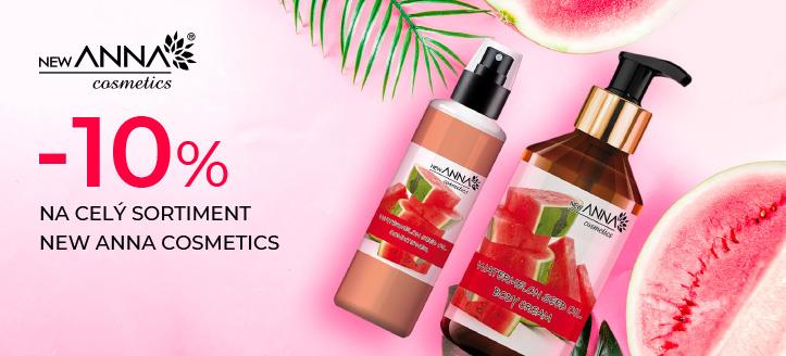 Zľava 10% na celý sortiment New Anna Cosmetics. Ceny na webovej stránke sú uvedené so zľavou