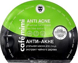 "Voňavky, Parfémy, kozmetika Uhoľná textilná maska na tvár ""Anti akné"" - Cafe Mimi Anti Acne Charcoal Face Mask Tea Tree Extract"