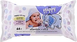 Voňavky, Parfémy, kozmetika Vlhčené servítky s vitamínom E, 64ks - Bella Baby Happy Vit E & Allantoin