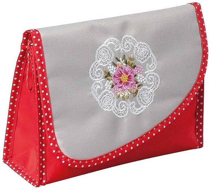 """Kozmetická taška """"Mandala"""", 98130, šedo-červená - Top Choice — Obrázky N1"""