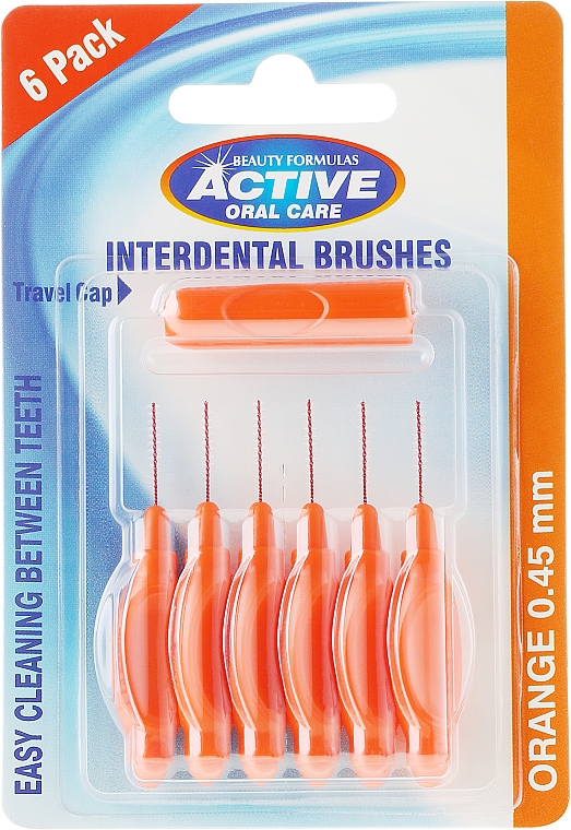 Medzizubná kefka, 0,45mm, oranžová - Beauty Formulas Active Oral Care Interdental Brushes