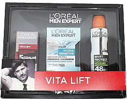 Voňavky, Parfémy, kozmetika Sada - L'Oreal Paris Men Expert Vita Lift Hydra Sensitive (cr/50ml + ash/lot/100ml + deo/150ml)