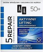"""Voňavky, Parfémy, kozmetika Denný spevňujúci krém na tvár """"Aktívny lifting"""" 50+ - AA Age Technology 5 Repair Day Cream 50+"""
