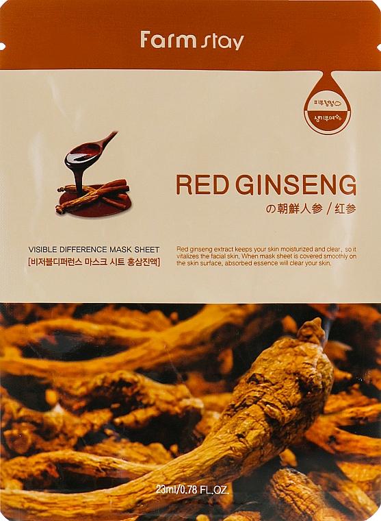 Maska s výťažkom z koreňa červeného ženšenu - Farmstay Visible Difference Mask Sheet