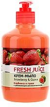 """Voňavky, Parfémy, kozmetika Krém-mydlo s hydratačným ryžovým mliekom """"Jahoda a guava"""" s dávkovačom - Fresh Juice Strawberry&Guava"""