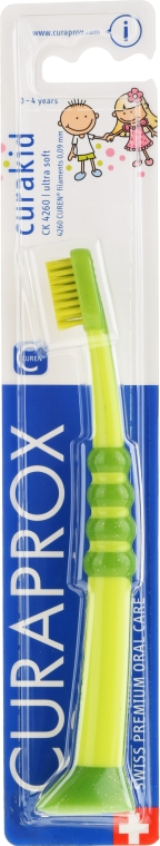 Detská zubná kefka Curakid, žlto-zelená - Curaprox — Obrázky N1