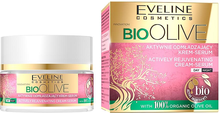 Aktívne omladzujúce krémové sérum na tvár - Eveline Cosmetics Bio Olive Actively Rejuvenating Cream-serum