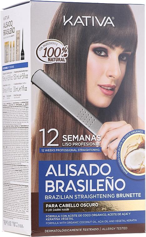 Sada na vyrovnanie vlasov keratínom, pre brunetky - Kativa Alisado Brasileno Straighten Brunette (shm/15ml + mask/150ml + shm/30ml + cond/30ml + brush/1pcs + gloves/1pcs)