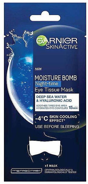 Hydratačná maska na oči - Garnier Moisture Bomb Deep Sea Water and Hyaluronic Acid Mask