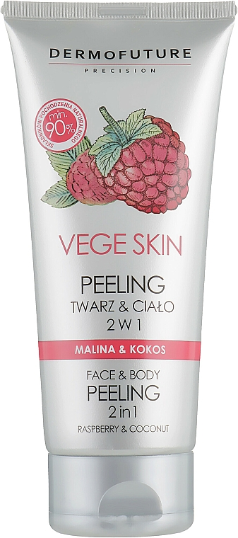 "Peeling na tvár a telo ""Malina a kokos"" - DermoFuture Vege Skin Face & Body Peeling Raspberry & Coconut"