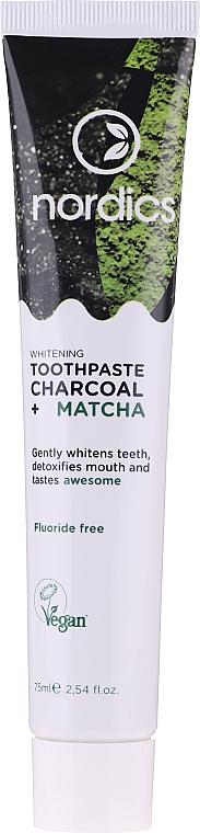 Bieliaca zubná pasta s uhlím a matchou - Nordics Whitening Charcoal Matcha Tooshpaste