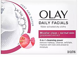 Voňavky, Parfémy, kozmetika Suché utierky aktivované vodou - Olay Cleanse Daily Facials Eater Activated Dry Cloths