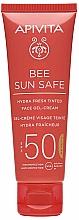 Voňavky, Parfémy, kozmetika Tónovací gél-krém s morskými riasami a propolisom - Apivita Bee Sun Safe Hydra Fresh Tinted Face Gel-Cream SPF50
