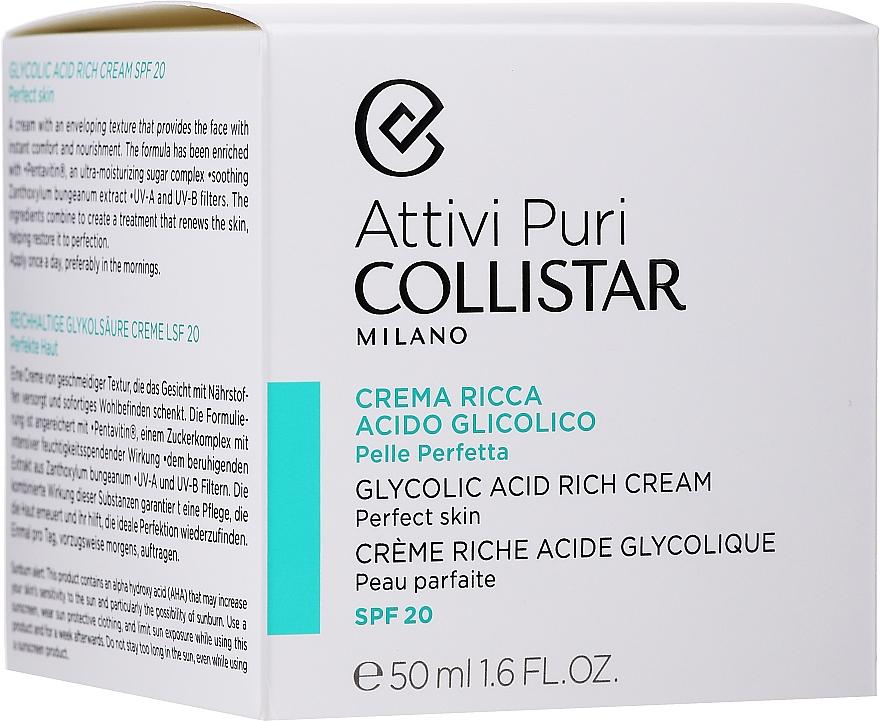 Nasýtený krém s glykolovou kyselinou pre dokonalú pokožku tváre - Collistar Pure Actives Glycolic Acid Rich Cream SPF20 — Obrázky N2