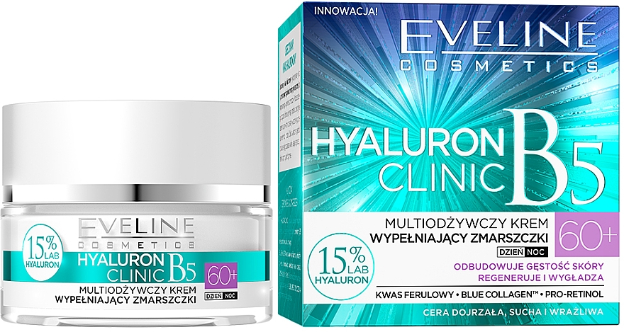 Krém na tvár - Eveline Cosmetics Hyaluron Clinic 60+ — Obrázky N1