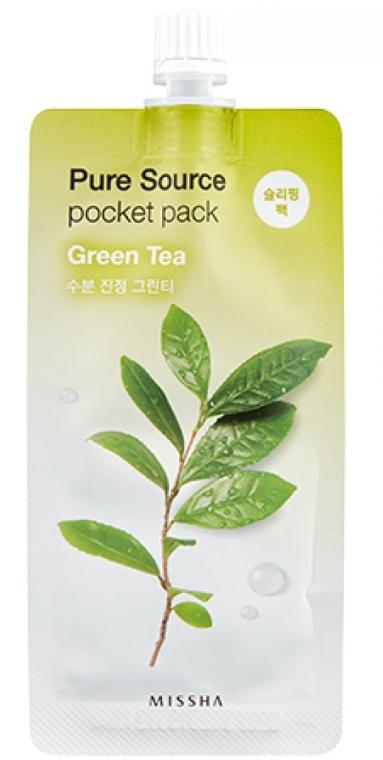 Nočná maska na tvár so zeleným čajom - Missha Pure Source Pocket Pack Green Tea — Obrázky N1
