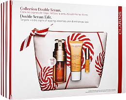 Voňavky, Parfémy, kozmetika Sada - Clarins Double Serum (serum/30ml + cleansing/30ml + lip/oil/2.8ml + bag)