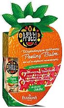 "Voňavky, Parfémy, kozmetika Balzam na pery ""Pomaranč a jahoda"" - Farmona Tutti Frutti Peeling Lip Balm Orange & Strawberry"