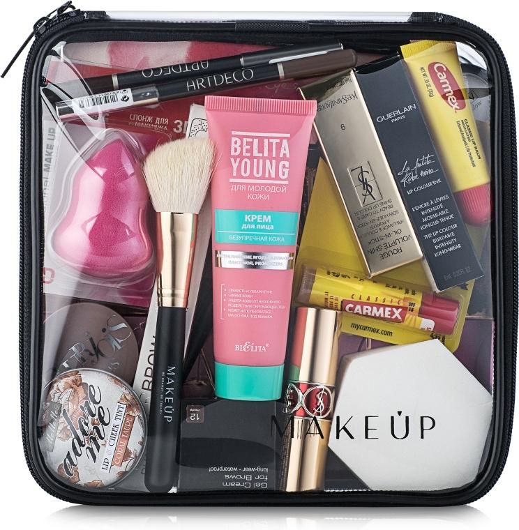 """Kozmetická taška priehľadná """"Visible Bag"""" 20x20x8 cm (bez kozmetických prostriedkov) - MakeUp"""